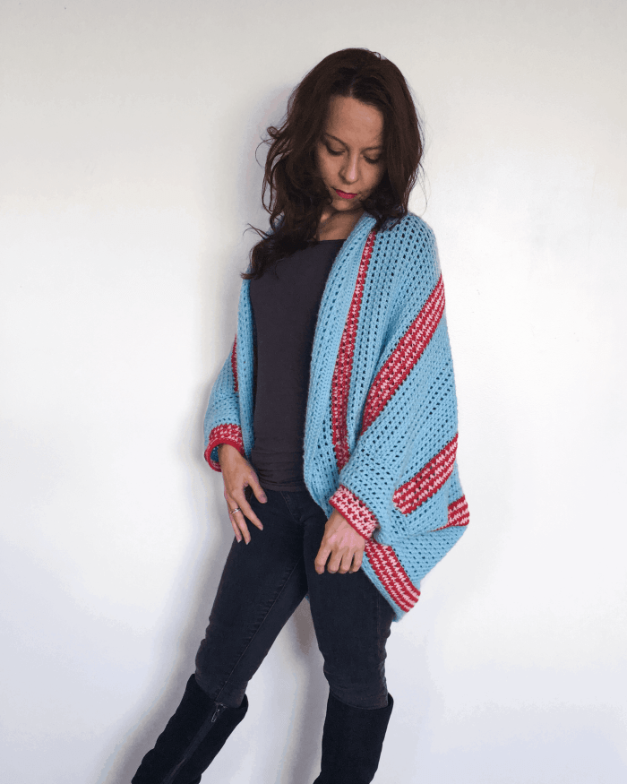 crochet shrug stripes pink red blue