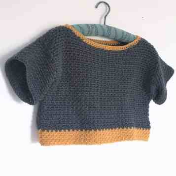 Grey and mustard crochet sweater from dora does