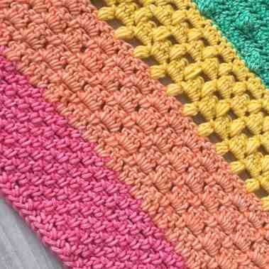 crochet stitch patterns and texture rainbow colours