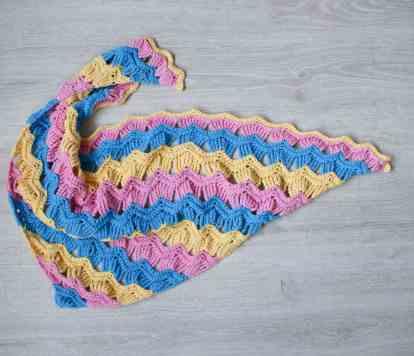 Colourful stripy cotton crochet shawl