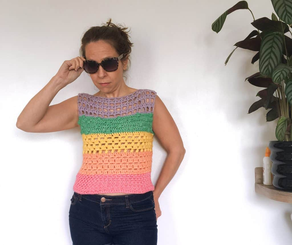 sunglasses woman wearing rainbow cotton crochet top