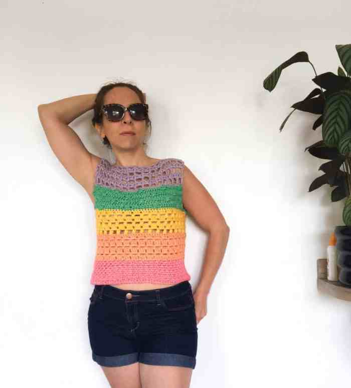 Cotton summer crochet top in rainbow colours