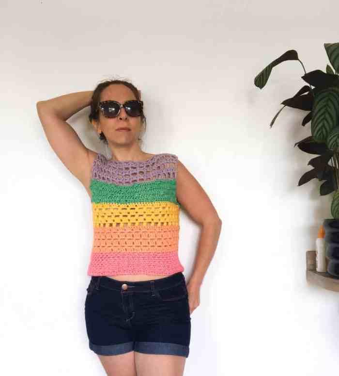 Cotton summer crochet top in rainbow colours