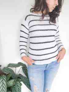 White crochet sweater with black stripes made in bamboo cotton