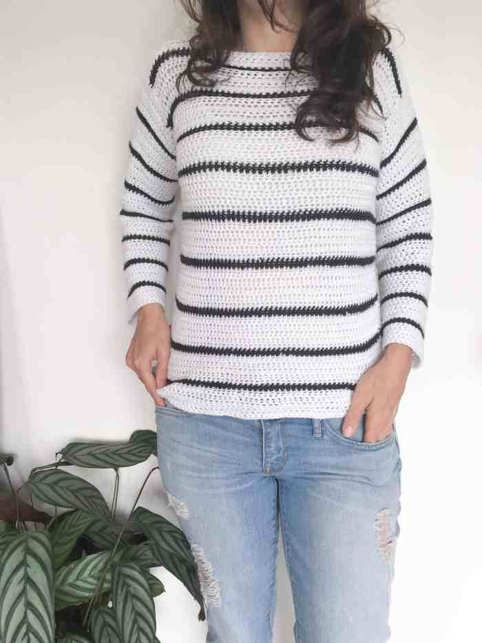 Simple Stripy crochet sweater - black and white cotton bamboo yarn