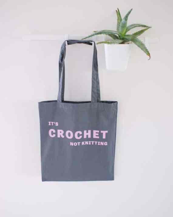 It's crochet not knitting cotton tote bag - grey