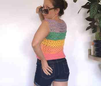 Summer crochet top rainbow vest
