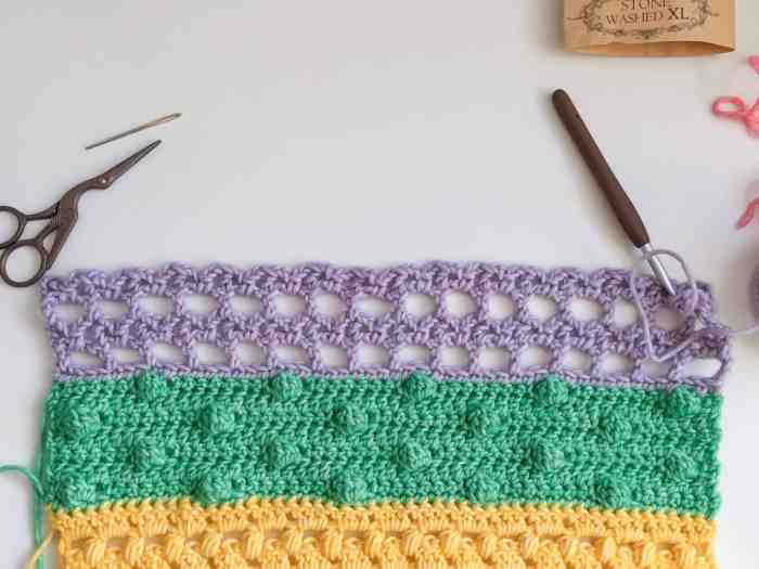 Crochet Stitches in rainbow colours