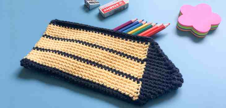 cotton yellow and black stripy crochet pencil case with pencils rubber sharpner
