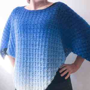 Corner to Corner Crochet Poncho in Blue shades