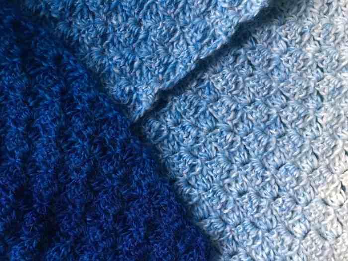 Corner to corner crochet in graduated blue yarn