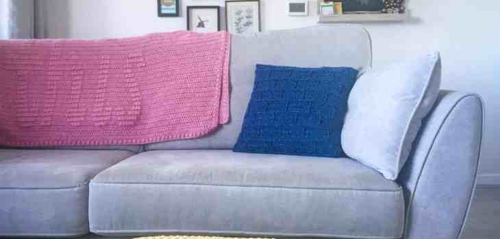 The Building Blocks crochet pillow