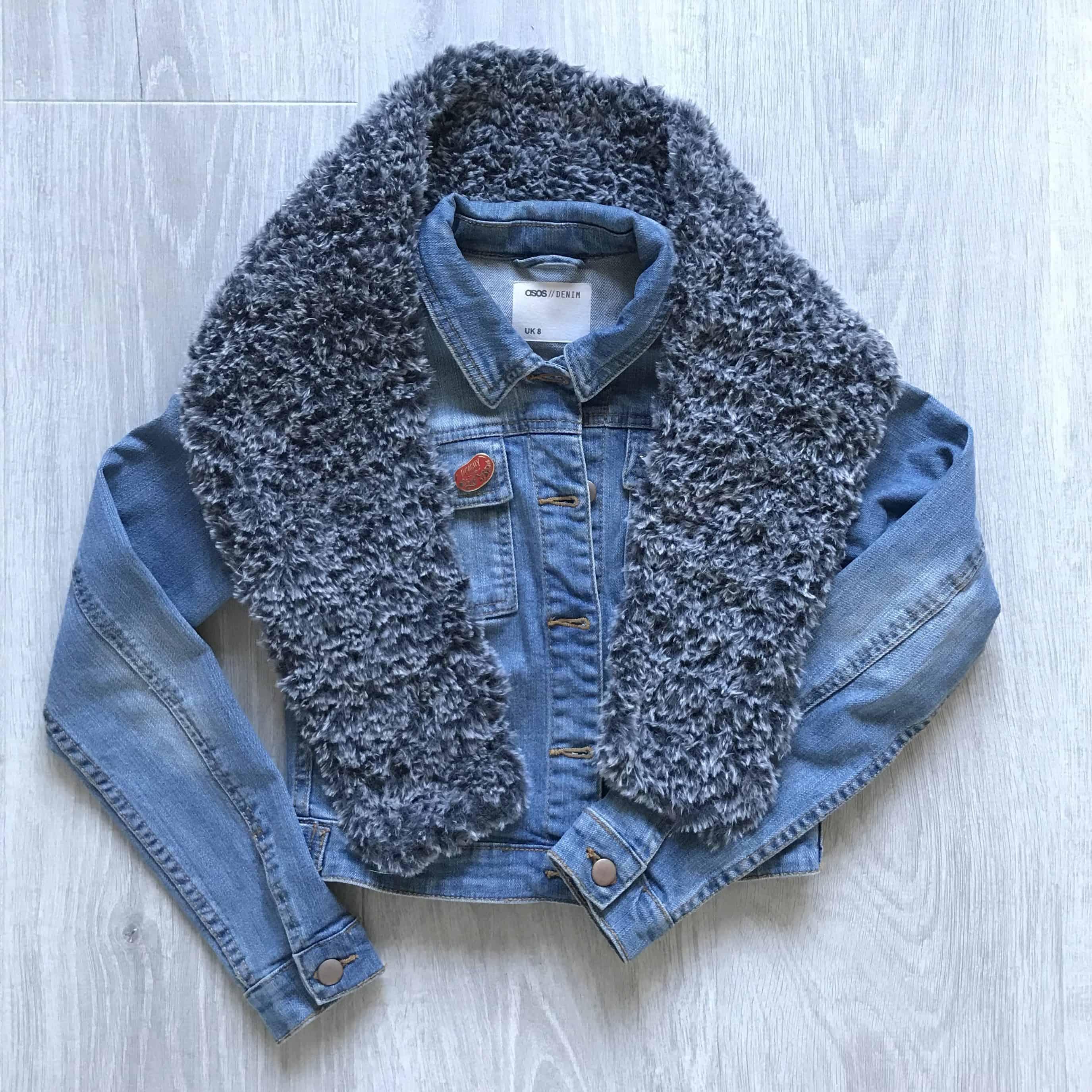 Faux fur crochet scarf with denim jacket