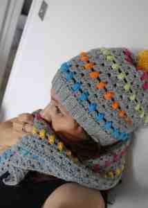 Rainbow and grey crochet pom pom hat