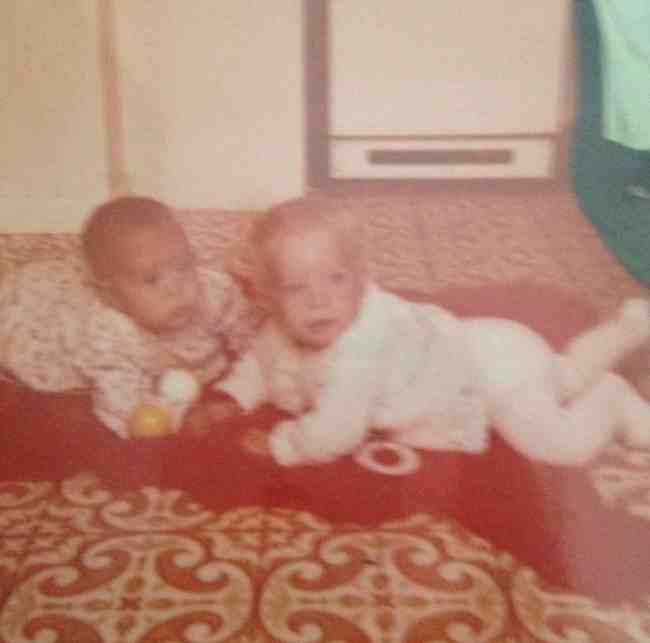 70s babies on orange rug and that floor!
