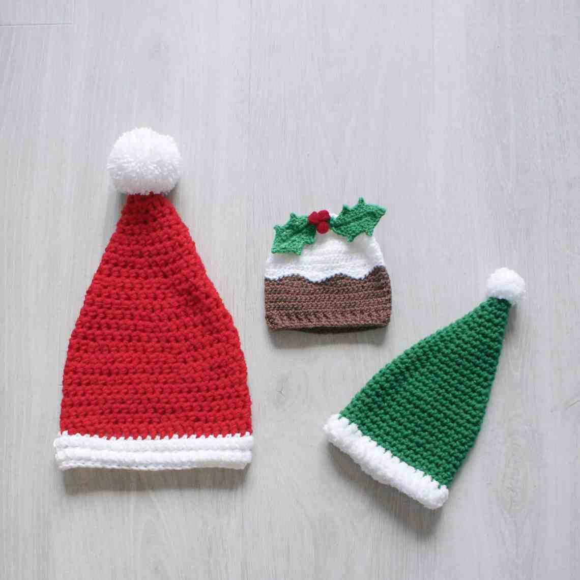 Christmas Pudding elf and santa crochet hats