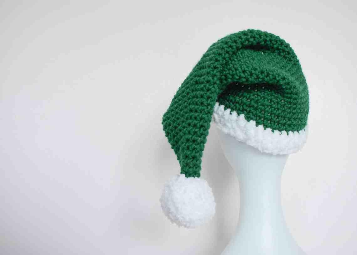 Crochet Elf Hat on mannequin