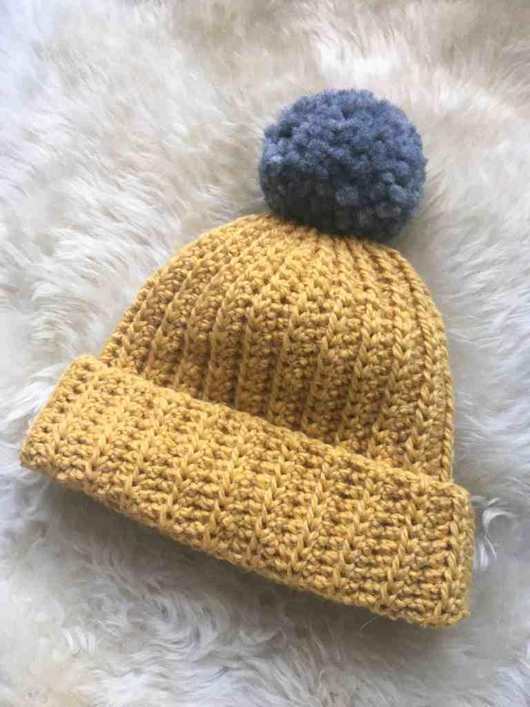 Mustard and grey pompom hat