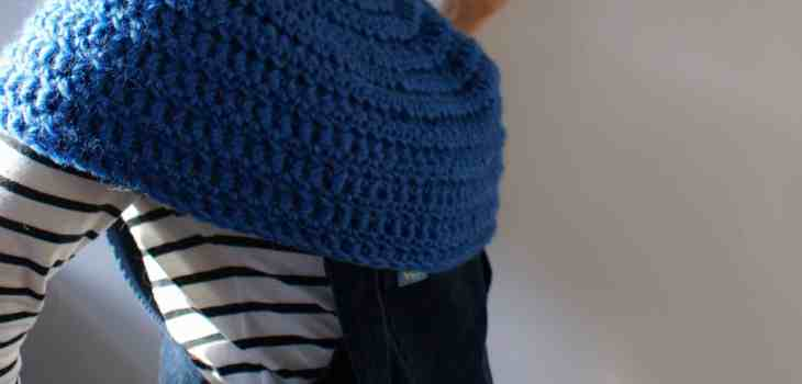 Women wearing stripy top Lucy and yak mini pini and crcchet cowl