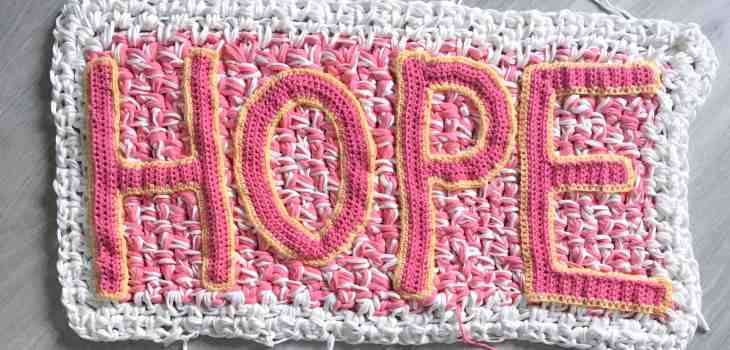 Hope crocheted in pink and yellow