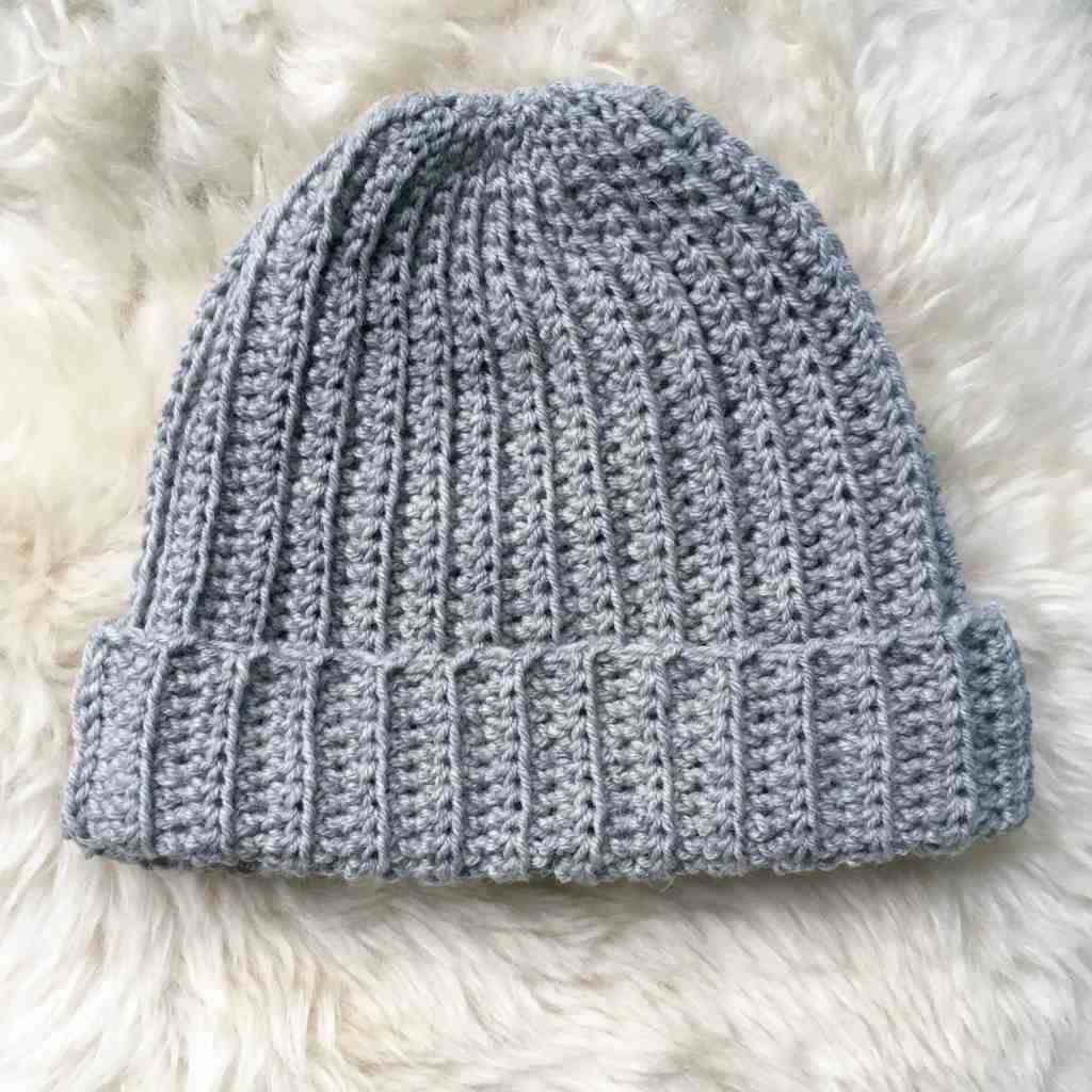 Grey ribbed crochet beanie hat Dora does