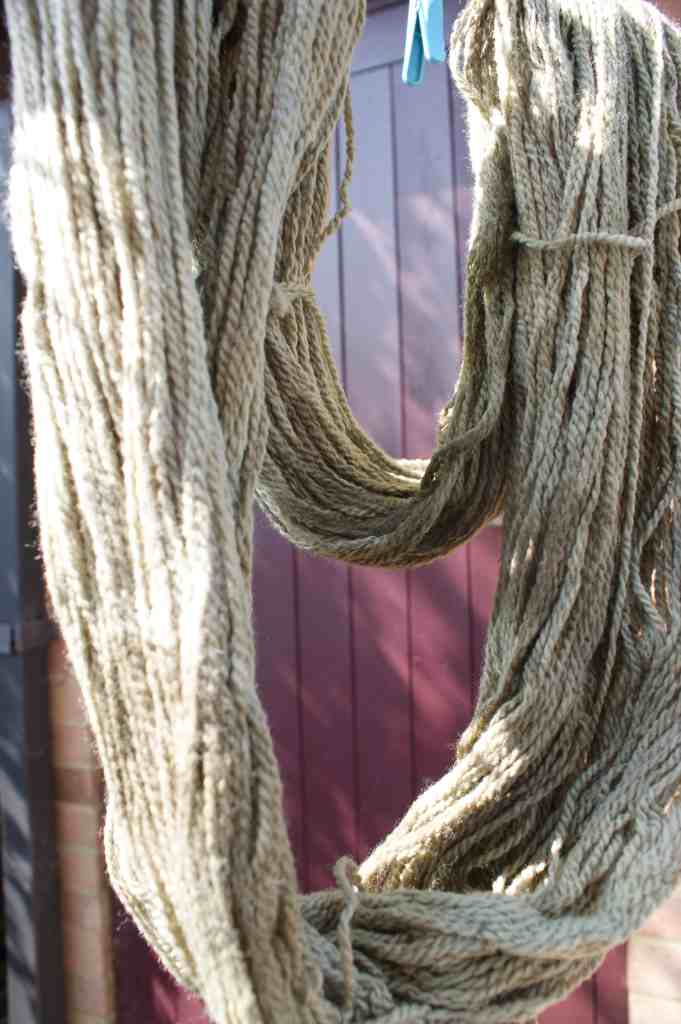 nettle dyed yarn hanging on a line in front of brown door