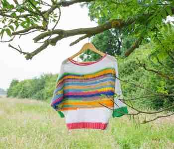 Rainbow striped crochet sweater hanging in tree in field