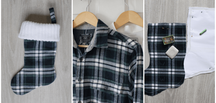 Upcycled stocking tutorial steps