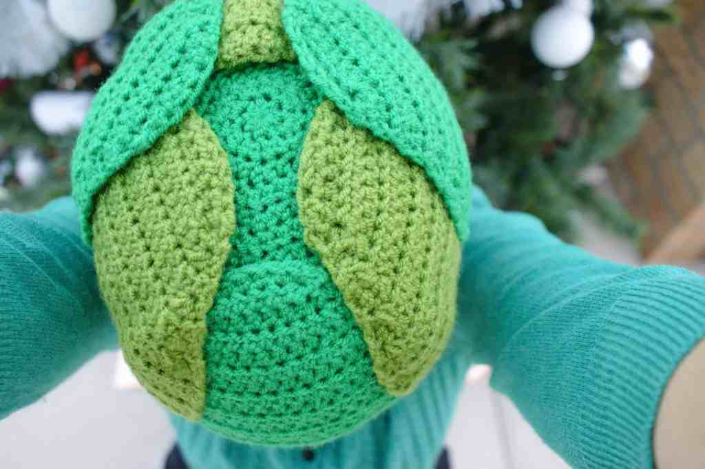 Crochet Brussels sprout hat from above