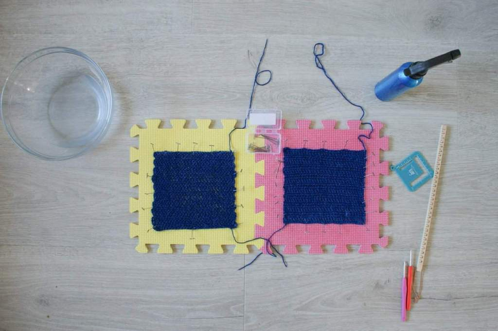 Two swatches pinned out on blocking boards