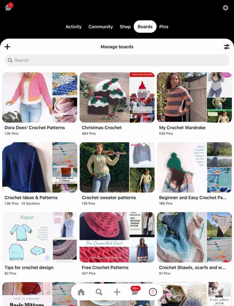 A screenshot of Dora's pinterest board list with multiple boards shown