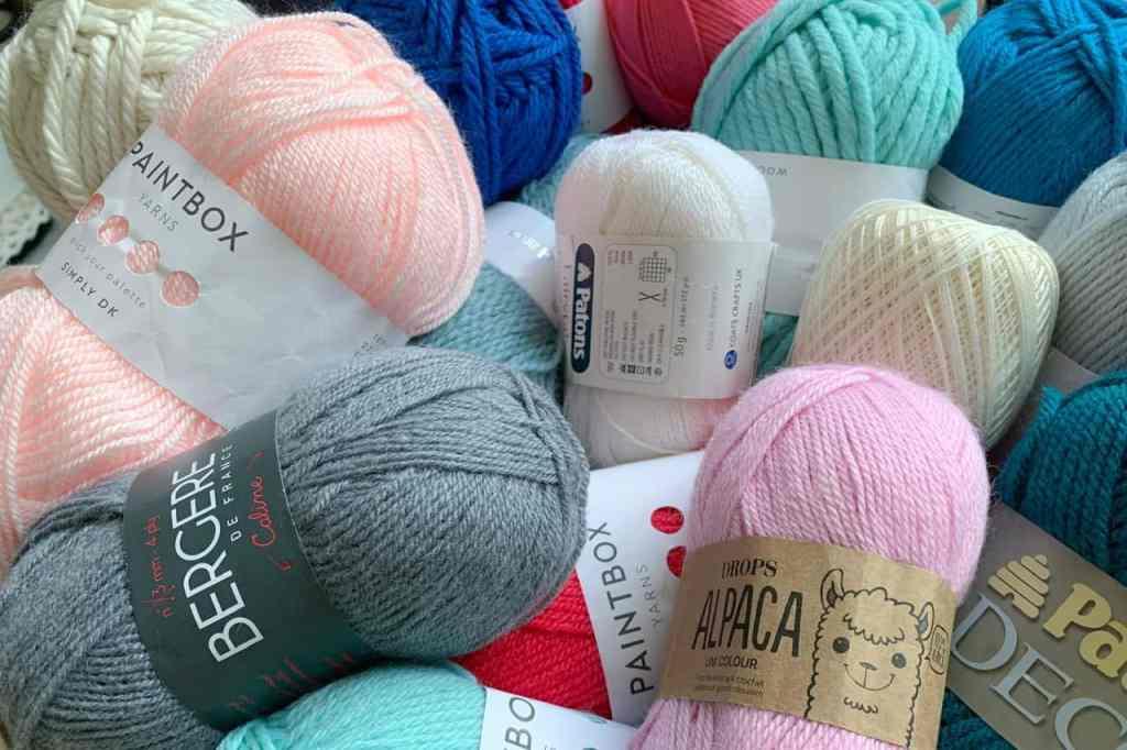 An assortment of yarns bundled together