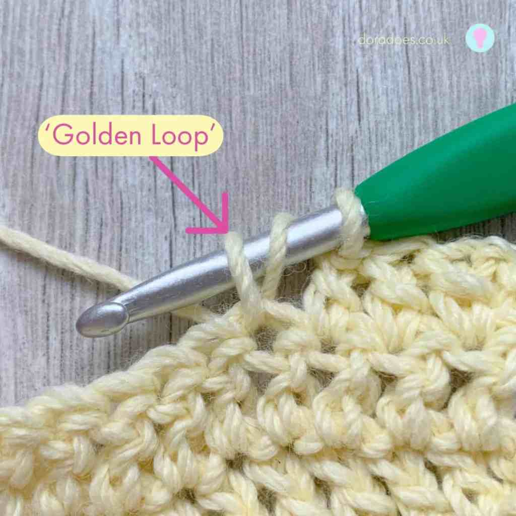 An annotated image of a crochet swatch showing the golden loop part of a crochet stitch on a crochet hook