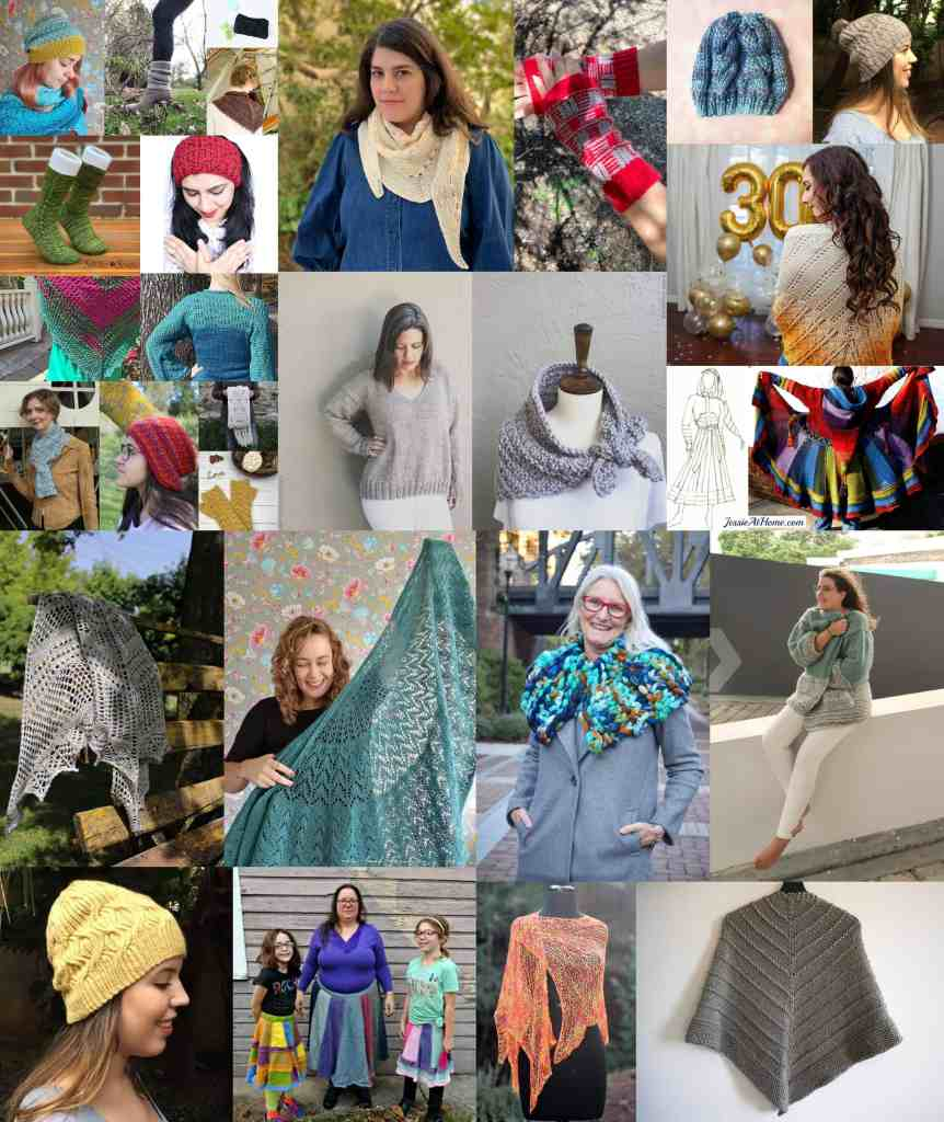 A collage of knitting pattern images available in the knit for me bundle