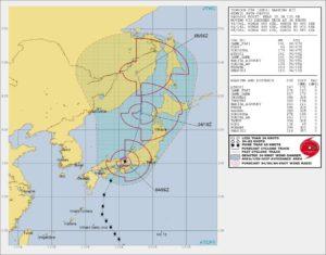 平成30年台風21号の最新進路状況のアメリカ海軍の図