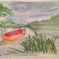 Orange Boat - Watercolor by Zuza