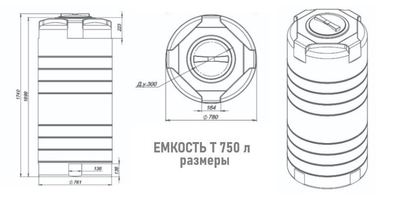 Габариты пластиковой емкости серии Т 750 л. Экопром СпБ