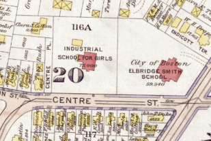A Map 1889 of the Industrial School for Girls showing the carriage house in back. (Bromley Atlas, Plate 22)