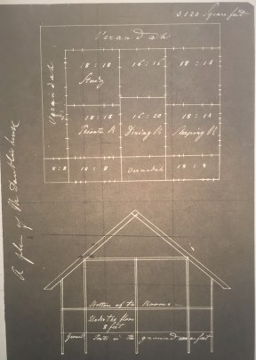 Blueprint of the house that was to accommodate Gottlieb and Mary Daüble, as well as fellow missionaries Reverend Miles Bronson and his wife. (American Baptist Historical Society, photograph by author)