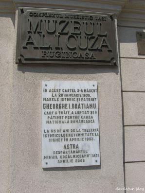 Placute informative aflate la intrarea in curtea palatului. Se mentioneaza nasterea in acest palat, a marelui istoric si patriot, Gheorghe I. Bratianu.
