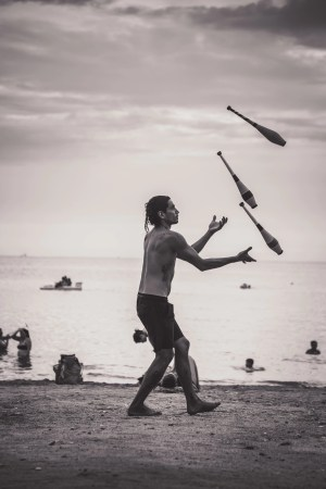 Person juggling - multitasking can be distracting