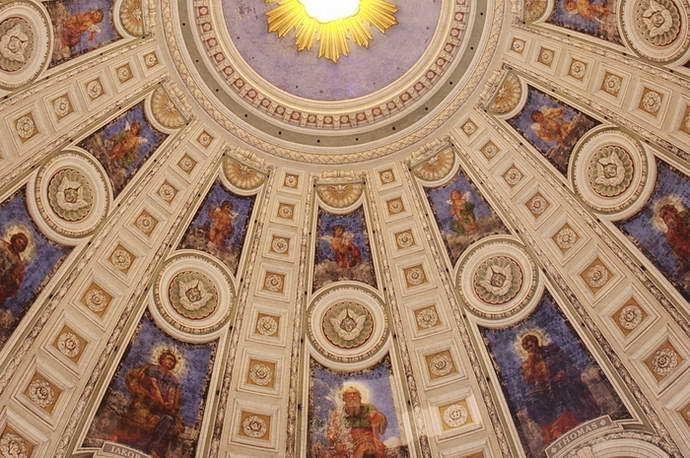 Kuppelausschnitt. Marmorkirken (Frederikskirken). Die Kuppel hat einen Durchmesser von 31m