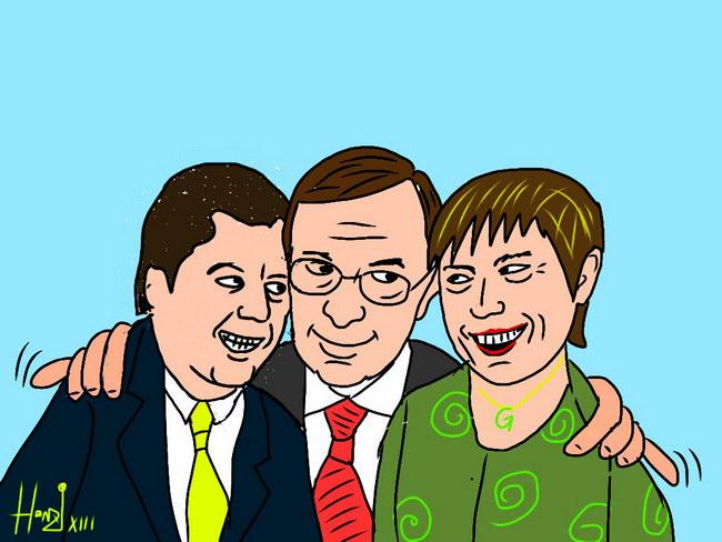 Mayr, Haslauer, Rössler. Finden sie zusammen? Cartoon by Michael Honzak