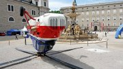 Paola PIVI A HELICOPTER UPSIDE DOWN IN A PUBLIC PLACE