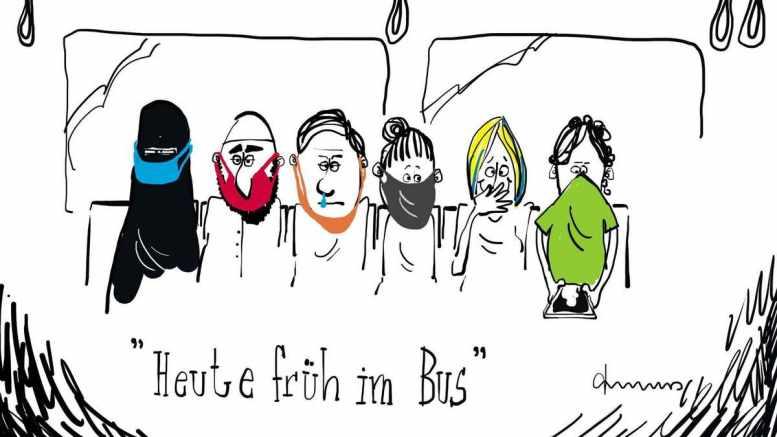 Masken im Bus