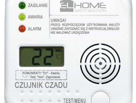 """Czujnik czadu """"El Home"""" CD-75A4 – wyświetlacz LCD, termometr, bateryjny"""