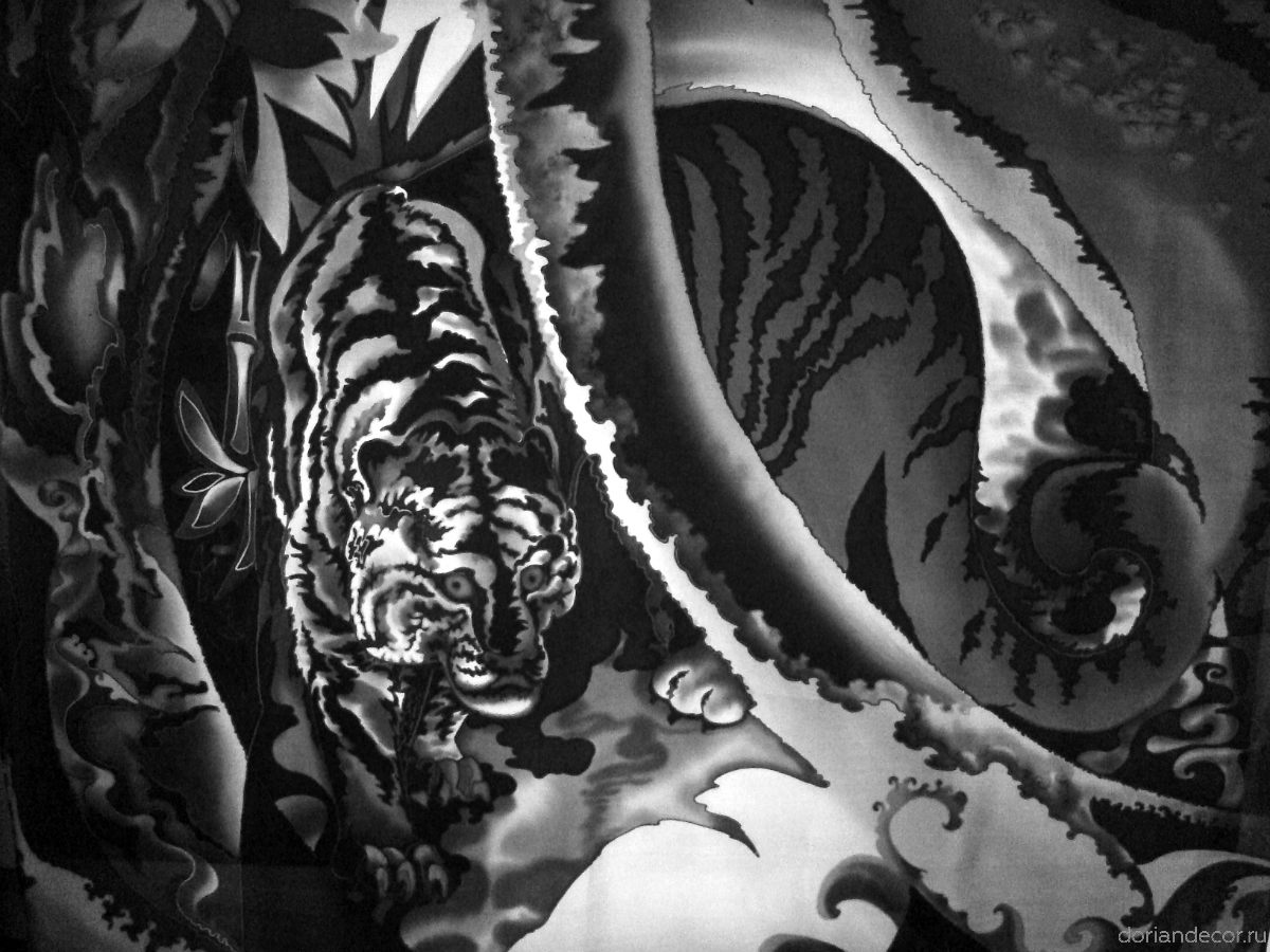 """Ирина Агалакова - панно в интерьер кабинета """"Тигр"""". Свободная роспиь, батик. 80 Х 100 см."""