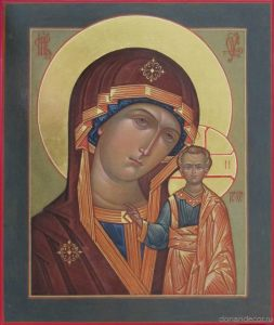 "Svetlana Medvedeva. the Kazan icon of the Mother of God (""Kazanskaya"" icon). 40x30 cm., levkas, gold, tempera, 2014."