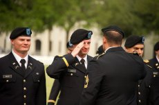 LT Lalli receives his first salute from SFC Polidoro photo by Stanley Leary