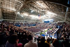 McAlister Fieldhouse fills up quickly on graduation day. photo by Stanley Leary
